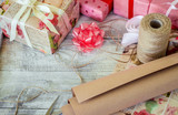 Gifts for the holiday in a beautiful package. Selective focus.   - 132130795