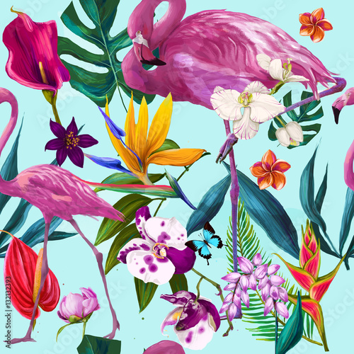 Cotton fabric seamless exotic floral fashion pattern