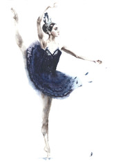 Ballerina dancing girl watercolor painting illustration isolated on white background