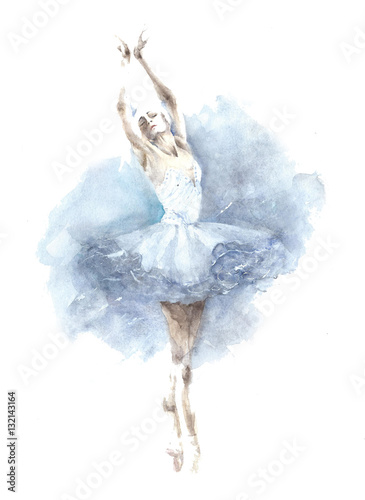 Ballerina dancing girl watercolor painting illustration isolated on white background - 132143164