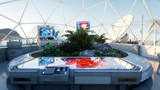 space laboratory, sci-fi interior. life on mars, alien planet. Plants in the space. 3d rendering. - 132145146