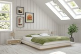 White bedroom. Scandinavian interior design