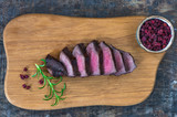 Sliced venison steak