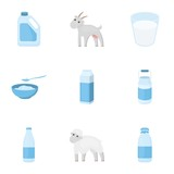 Milk set icons in cartoon style. Big collection of milk vector symbol stock illustration