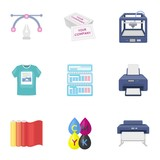 Typography set icons in cartoon style. Big collection of typography vector symbol stock illustration