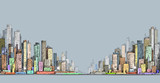 City panorama, hand drawn cityscape, vector drawing architecture illustration - 132153965