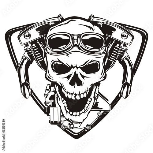 In de dag Retro Skull motorcycle machine shield
