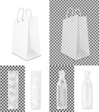 Transparent shopping paper bag. Packaging for bottle and bread