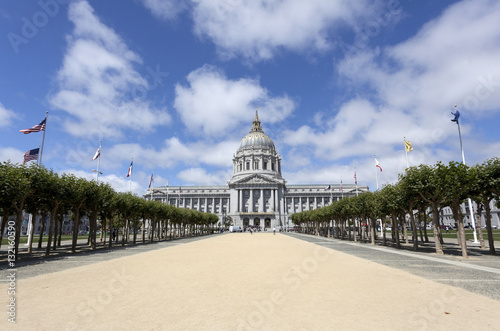 Poster Walkway leading to San Francisco's City Hall flanked with spring sycamore trees under blue sky