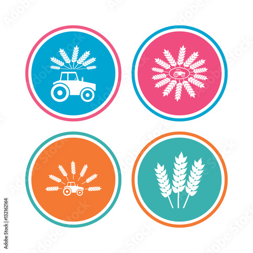 Poster Tractor icons. Agricultural industry transport.