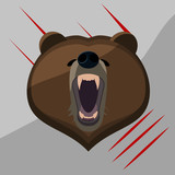 Grizzly bear flat simple icon eps10