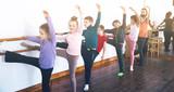Children studying ballet