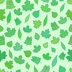 Seamless Background with tree leaves, greenery and foliage flat vector wallpaper