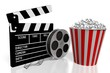 Постер, плакат: Movies cinema concept film reel popcorn bucket great for topics like movie theater cinema etc