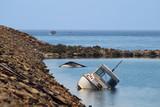Barco hundido en la Manga del Mar Menor, Murcia