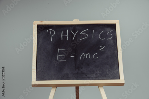Physics word and formula E=mc2 on chalkboard Poster