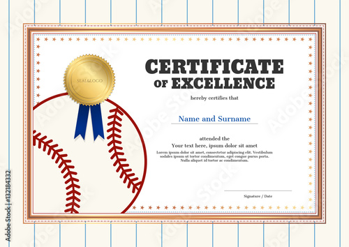 certificate of excellence template in sport theme for baseball event