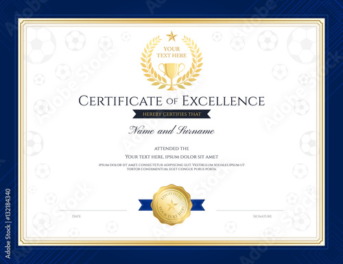 Sport theme certification of excellence template for football ...