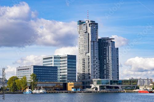Zdjęcia na płótnie, fototapety na wymiar, obrazy na ścianę : Gdynia, Poland-September 2016, a skyscraper in the port of Gdynia
