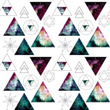 Pattern with Watercolor Nebula in Triangles and Sacred Geometry - 132188379