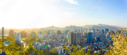 Fotobehang Seoel Seoul Downtown Aerial View Panoramic Cityscape