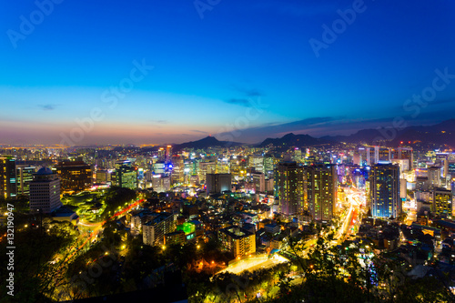 Poster Seoul Downtown Aerial View Cityscape Twilight Dusk