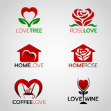 Fototapety Heart and rose logo , home love logo and coffee and wine logo vector set design