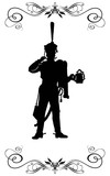 Silhouette of a Russian hussar, holding a mug of beer.
