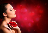 Valentines Day Makeup - Beauty Model Holding Rose