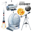 Постер, плакат: Watercolor astronomy collection
