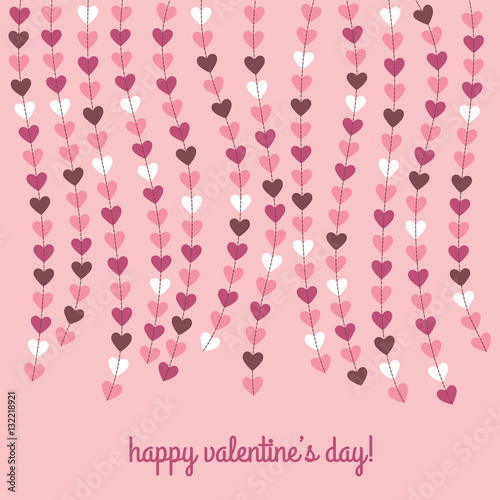Happy valentines day card with hanging hearts © zionbalkon
