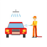 Smiling Mechanic Washing The Car In The Garage, Car Repair Workshop Service Illustration