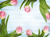 Pink tulips on white blue wooden. EPS 10