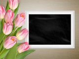 Pink tulips with blank black chalkboard. EPS 10