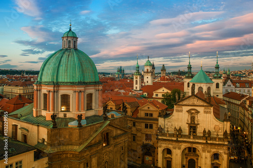 Poster Prague at sunset. Image of Prague, capital city of Czech Republic