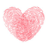 Valentines day design. Vector fingerprint sketch with heart. Hand drawn outline illustration with human finger print