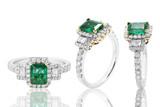 anillo con esmeralda y diamantes en oro joyeria con brillantes