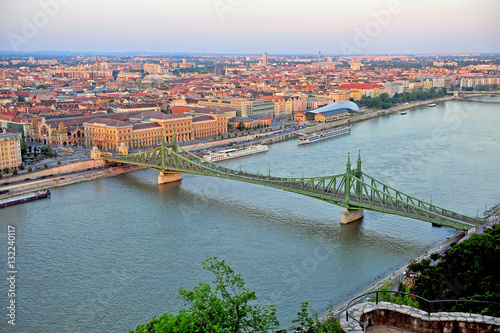 Poster View of Liberty bridge and Budapest city