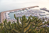 Evening view at the Port of Sidi Bou Said, famous touristic town near Tunis, Tunisian capital.North African Mediterranean coast.