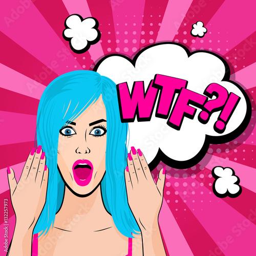 Fotobehang Pop Art Angry young blue hair girl pop art