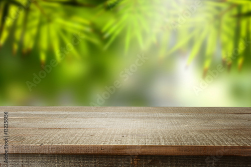 Fotobehang Bamboe Wooden empty and blur bamboo background.
