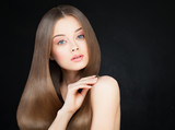 Spa Woman with Long Healthy Hair on Dark. Beautiful Model with S