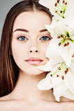 Spring or Summer Portrait of Beautiful Woman with Natural Makeup