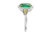 argolla y anillo con esmeraldas y  diamantes   joyeria  de bodas