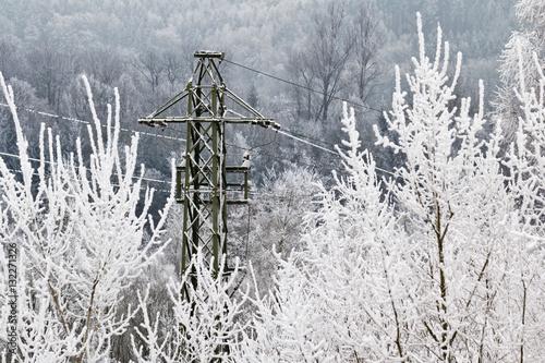 Strom und Wasserkraft im Winter Poster