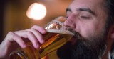 Bearded man drinking beer and enjoying beverage at pub bar 4k close-up video. Male guest tastes lager from glasses and rolling eyes