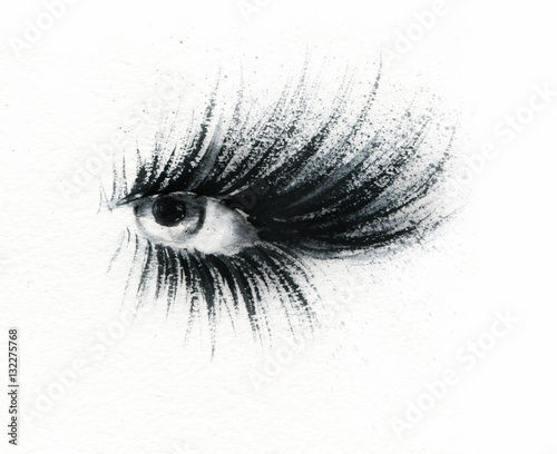 Eye Makeup. Fashion illustration. Watercolor painting © Anna Ismagilova