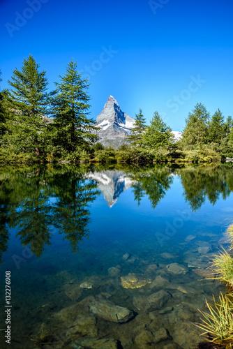 Poster Grindjisee - beautiful lake with reflection of Matterhorn at Zermatt, Switzerlan