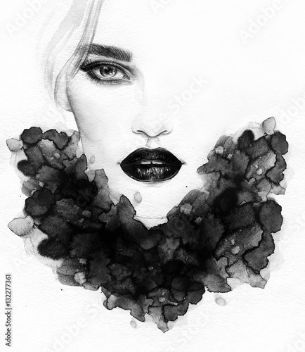 Beautiful woman portrait. Abstract fashion watercolor illustration - 132277361