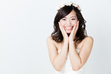 attractive asian woman wedding image on white background